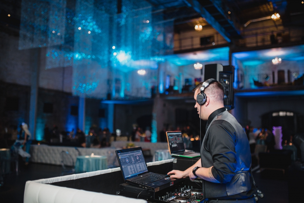 White tufted DJ booth DJ Alex 2