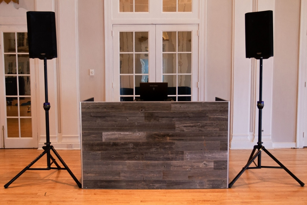 3 DJ Booth - Grey Reclaimed Wood