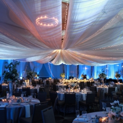 Blue LED uplighting with textured lighting on draped ceiling