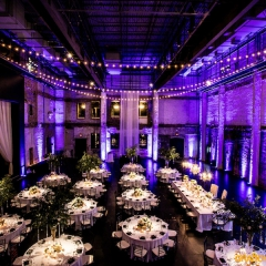 Purple LED uplighting and table pin spot lighting