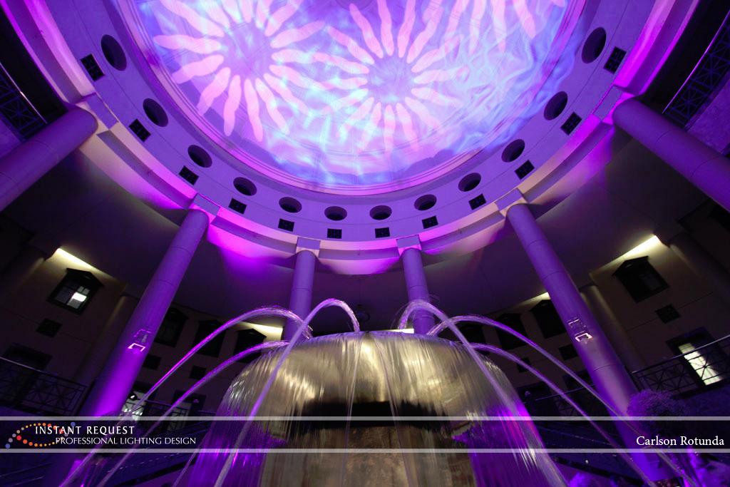 Wedding led uplighting at Carlson Rotunda 33