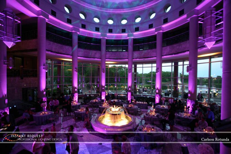 Wedding led uplighting at Carlson Rotunda 3