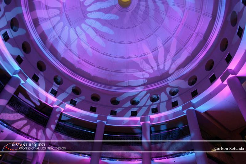 Wedding led uplighting at Carlson Rotunda 2