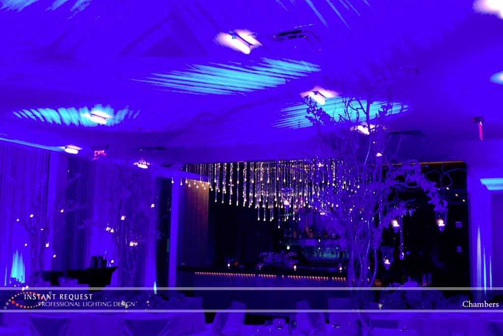 Wedding led uplighting at Chambers 1