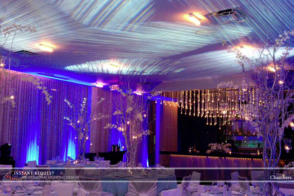 Wedding led uplighting at Chambers 2