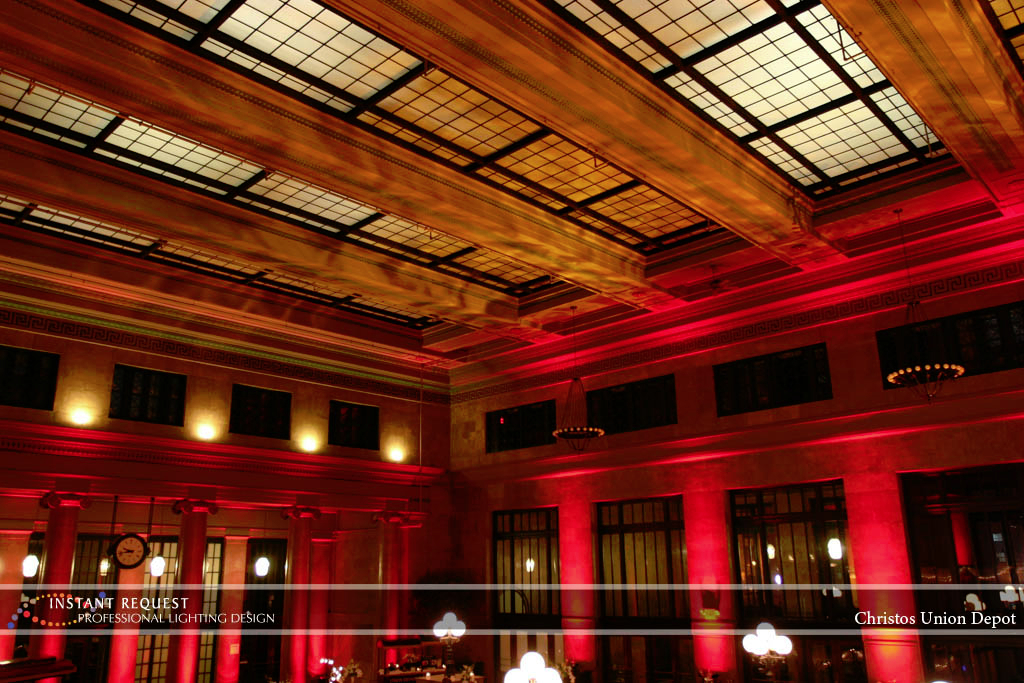 Wedding led uplighting at Christos Union Depot 1