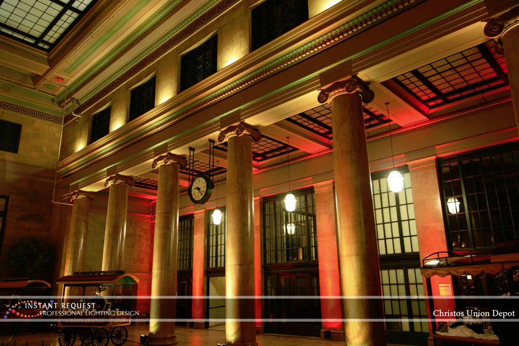 Wedding led uplighting at Christos Union Depot 2