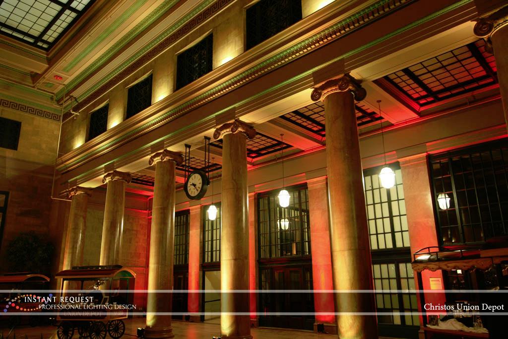 Wedding led uplighting at Christos Union Depot 2
