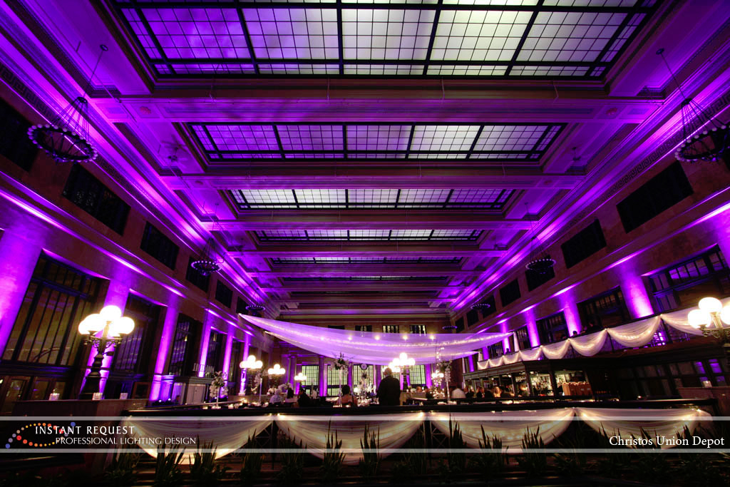 Wedding led uplighting at Christos Union Depot 5