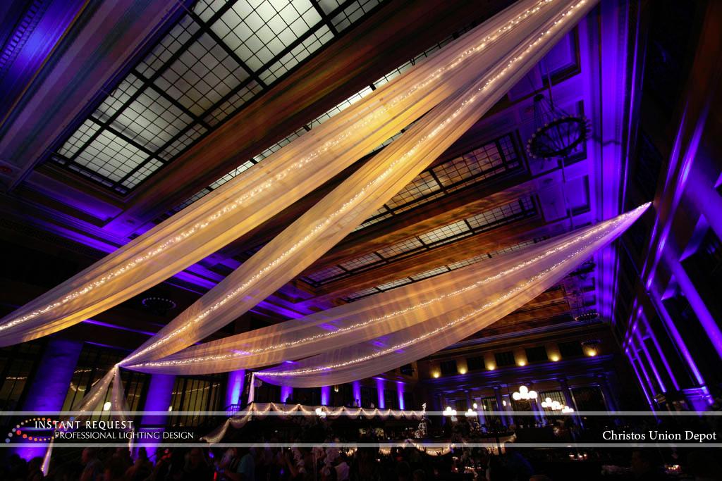 Wedding led uplighting at Christos Union Depot 7