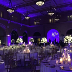 Battery powered pin spots on Centerpieces, purple LED uplighting and custom monogram on sheer fabric backdrop
