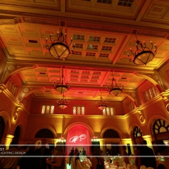 Custom monogram on fabric backdrop and LED uplighting  at Mpls Depot
