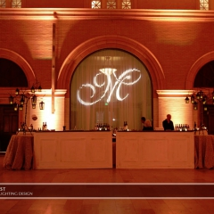 Joe Mauer Wedding with monogram on Bar backdrop