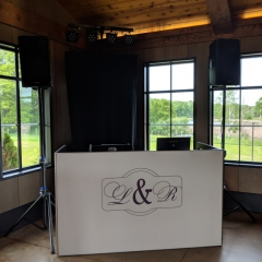 Custom Monogram on White DJ- booth -Seven-Vines-Vineyard
