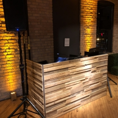 Stacked wood  DJ booth at Solar arts