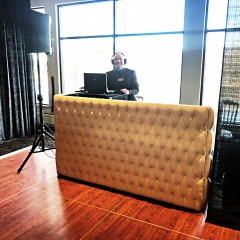 White Tufted leather DJ booth at Leopolds