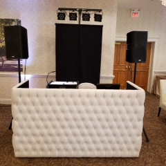 White Tufted leather DJ booth at Bearpath