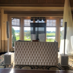 White Tufted leather DJ booth at Rush Creek