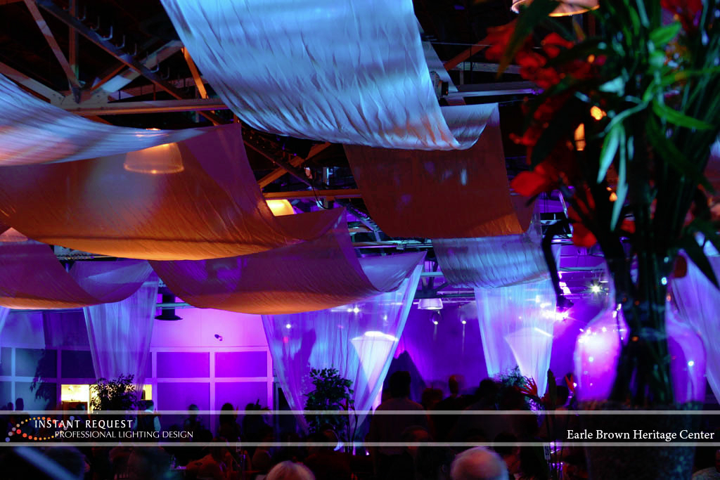 Wedding led uplighting at Earle Brown Heritage Center 2