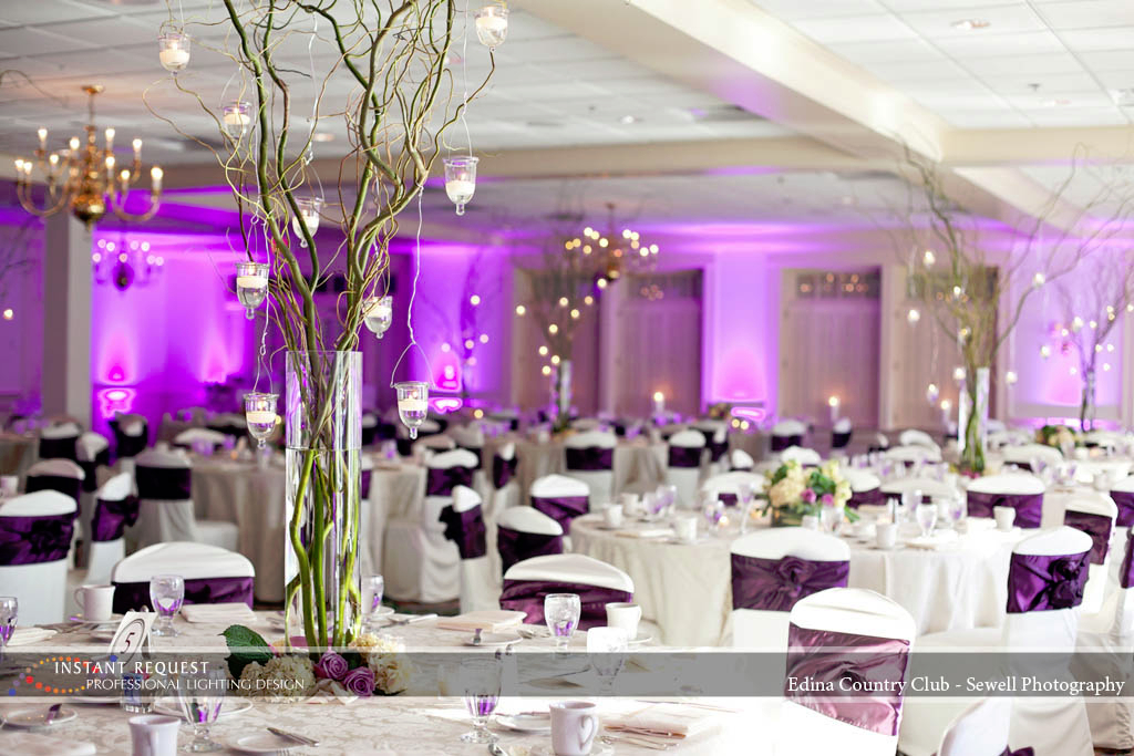 Wedding led uplighting at Edina Country Club 1