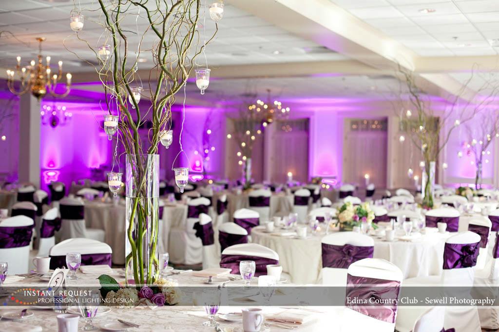 Wedding led uplighting at Edina Country Club 1
