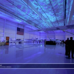 Wedding led uplighting at Flying Cloud Airport 2