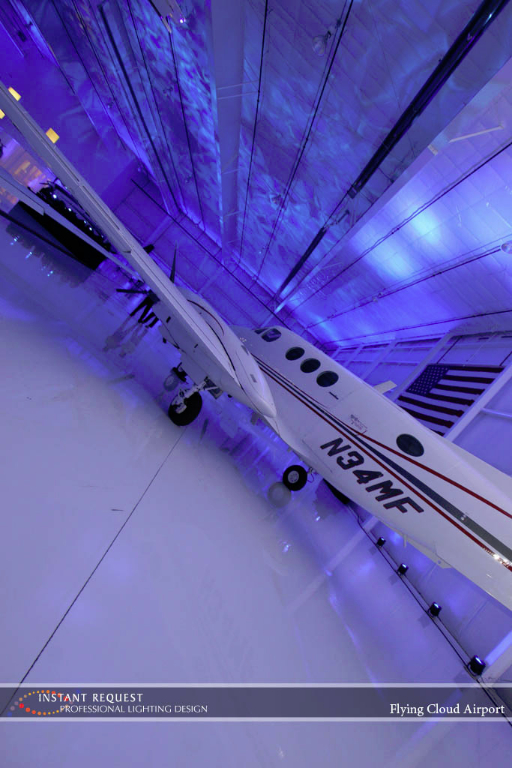 Wedding led uplighting at Flying Cloud Airport 3