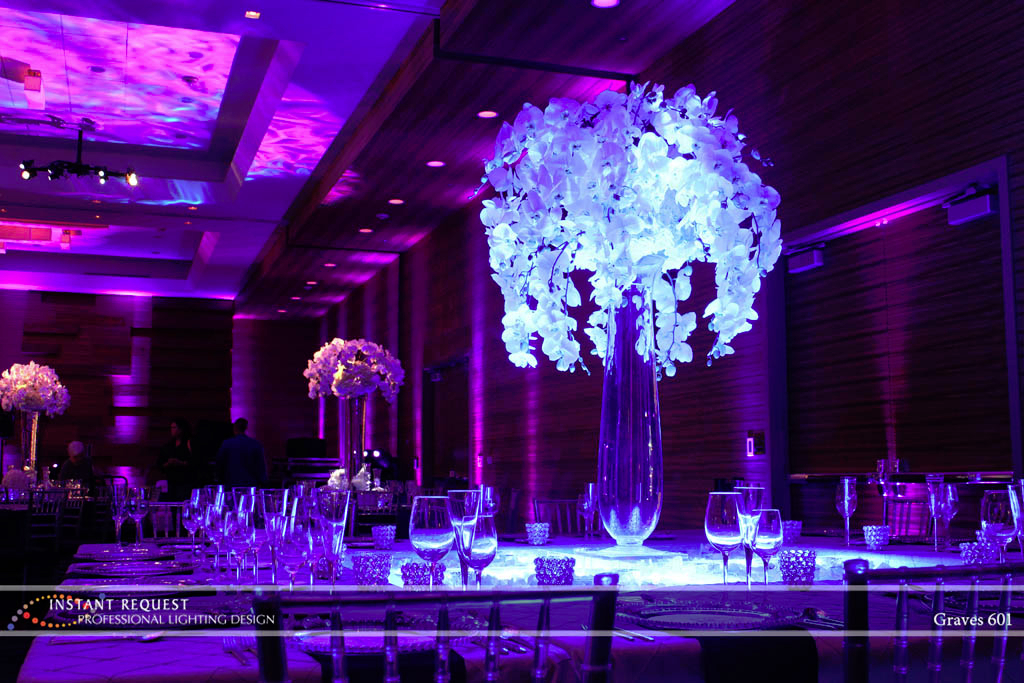 Wedding led uplighting at Loews Hotel 1