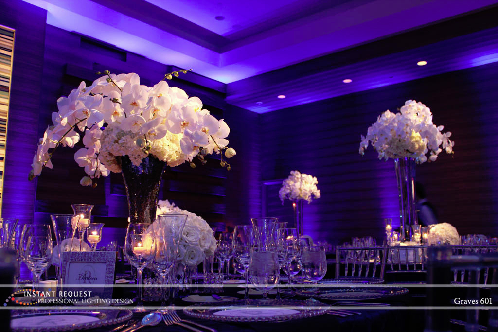 Wedding led uplighting at Loews Hotel 4