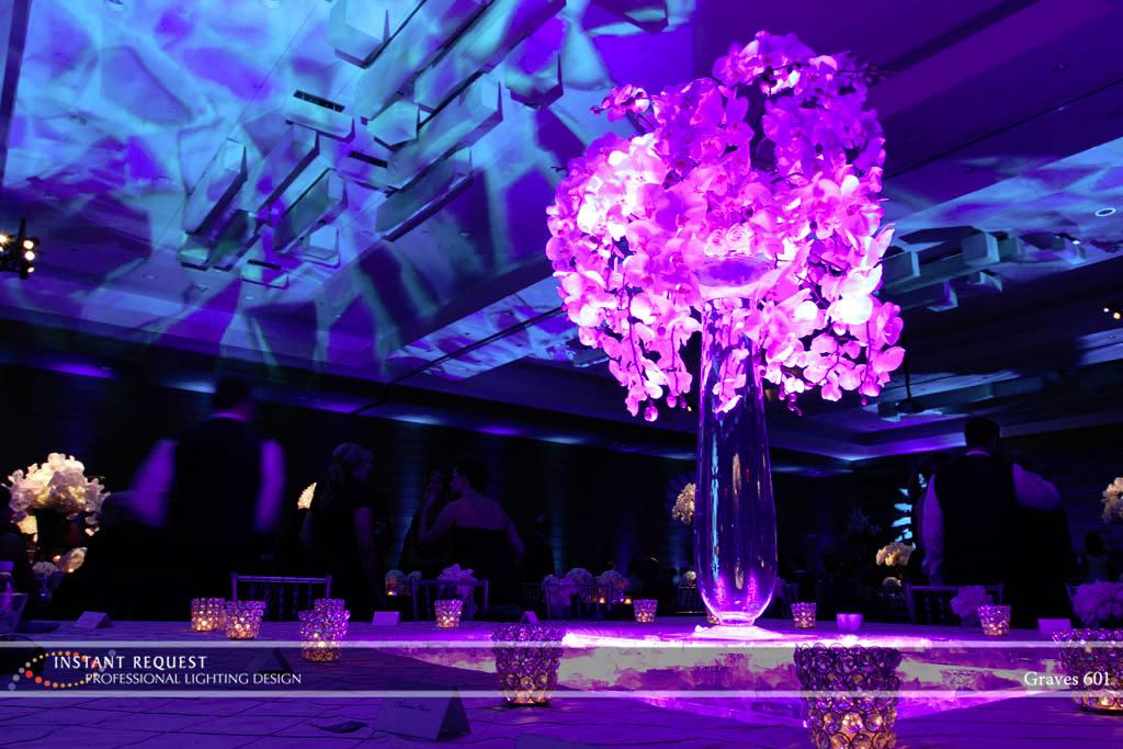 Wedding led uplighting at Loews Hotel 6