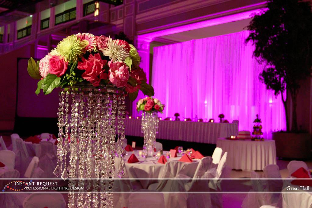 Wedding led uplighting at Great Hall 02