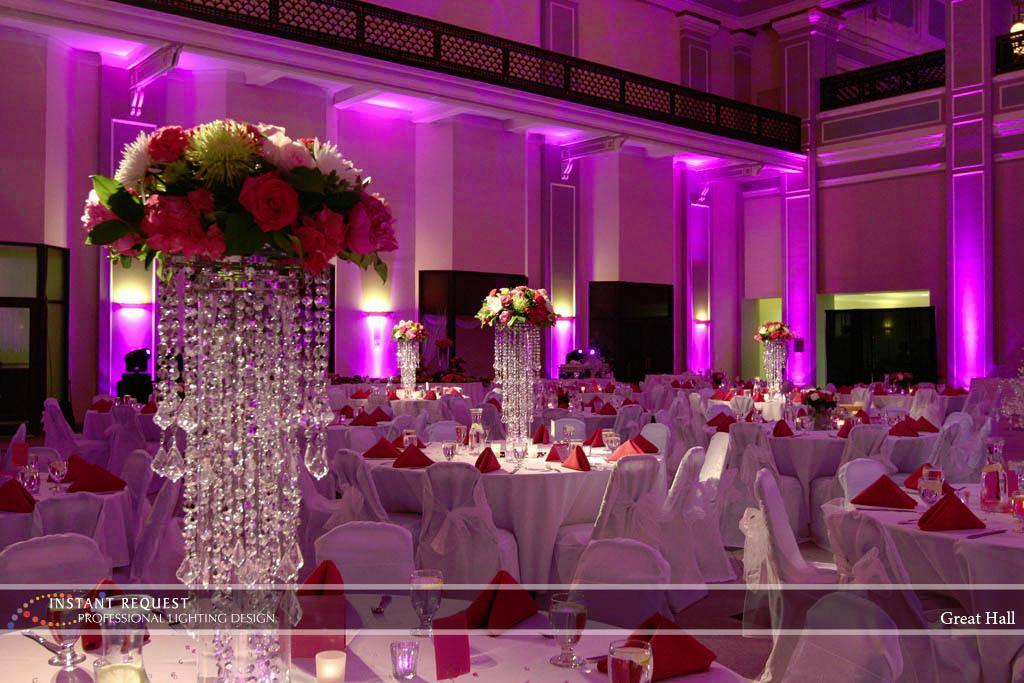 Wedding led uplighting at Great Hall 03