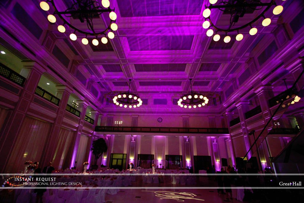 Wedding led uplighting at Great Hall 07