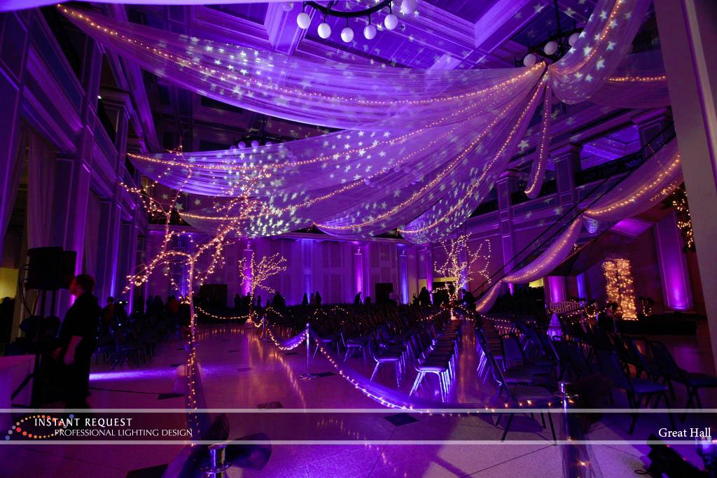 Wedding led uplighting at Great Hall 11