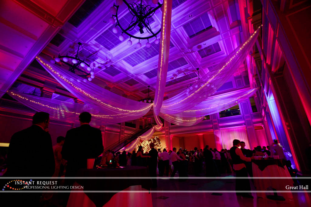 Wedding led uplighting at Great Hall 12