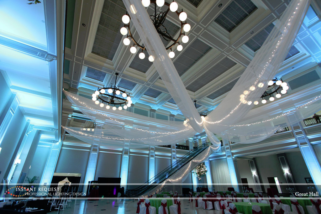 Wedding led uplighting at Great Hall 19