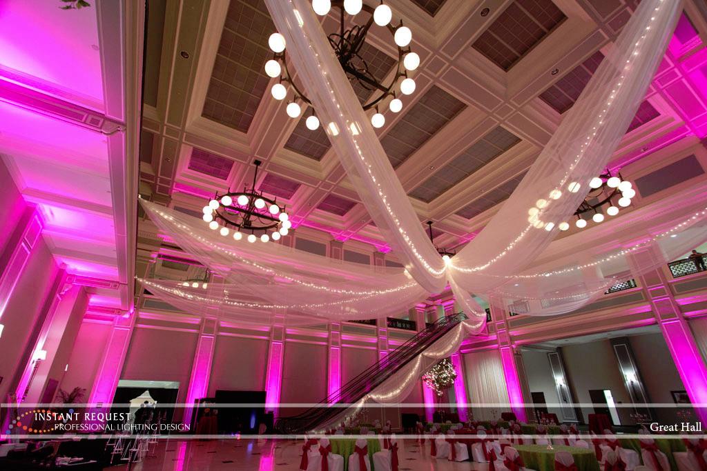 Wedding led uplighting at Great Hall 23
