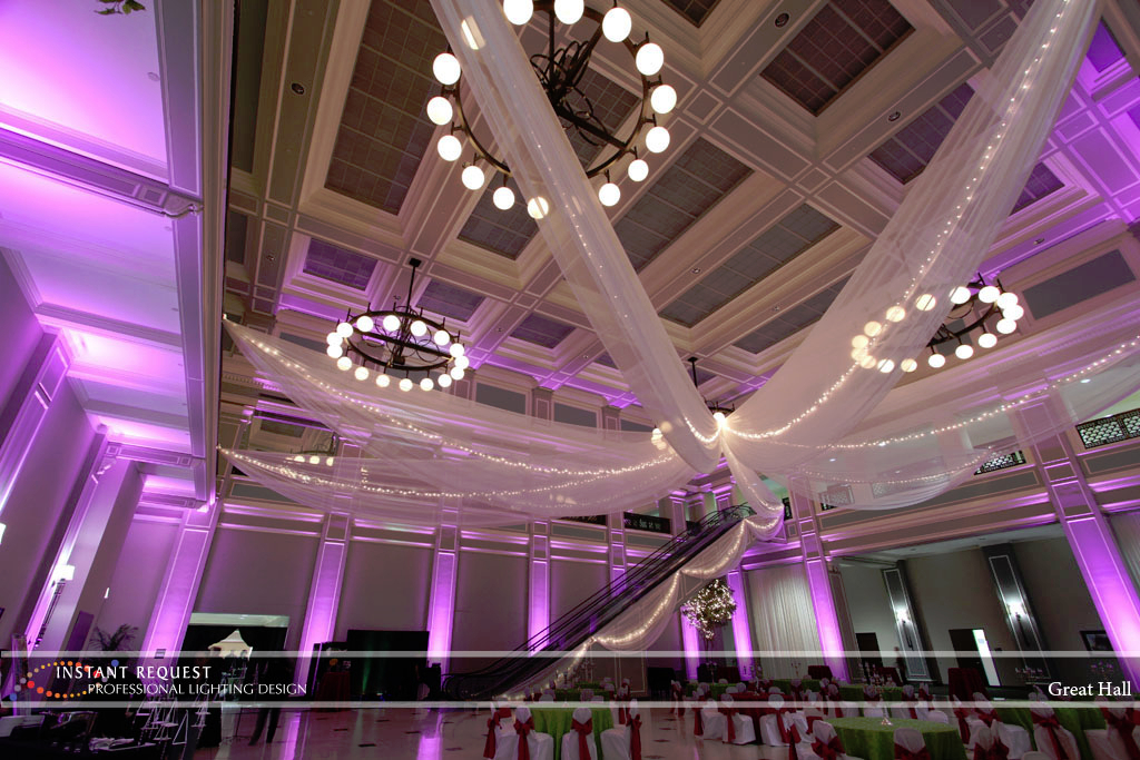 Wedding led uplighting at Great Hall 24