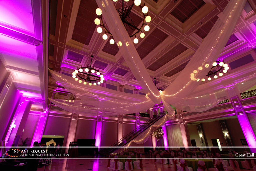 Wedding led uplighting at Great Hall 27