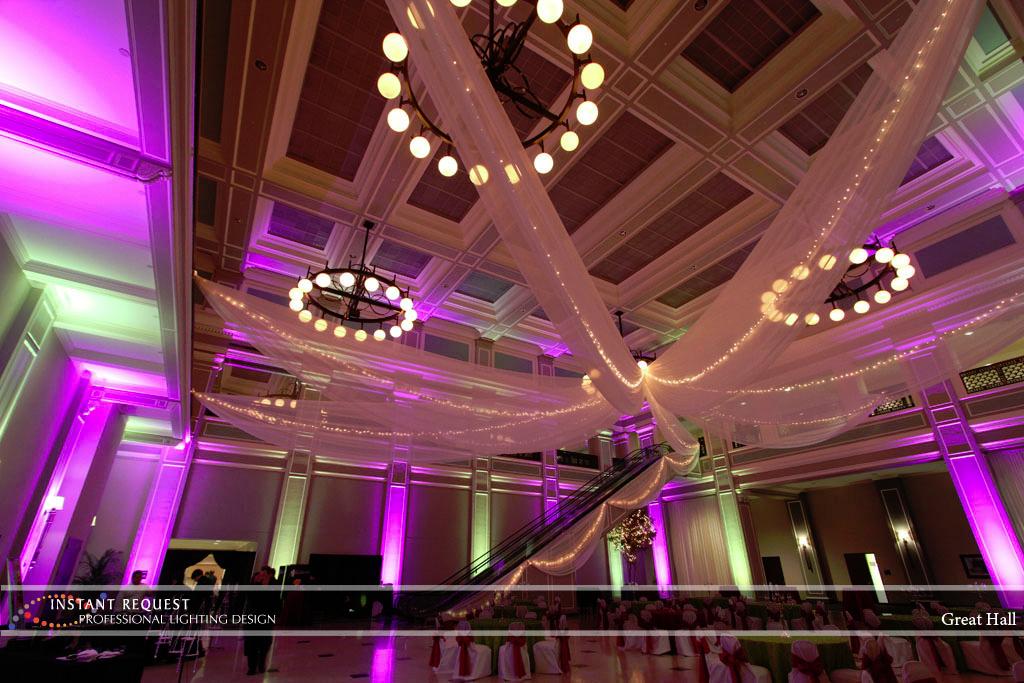 Wedding led uplighting at Great Hall 32