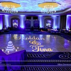 Wedding led uplighting at Hilton  3