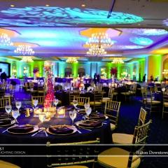 Wedding led uplighting at Hilton  5