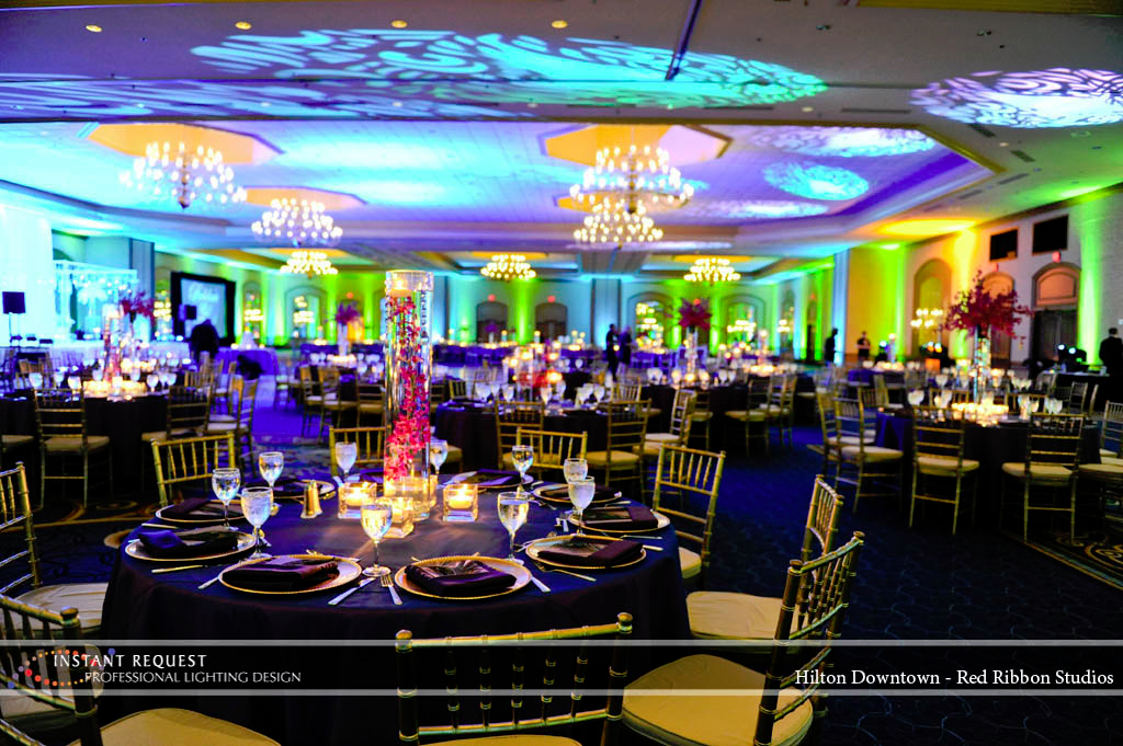 Wedding led uplighting at Hilton  5