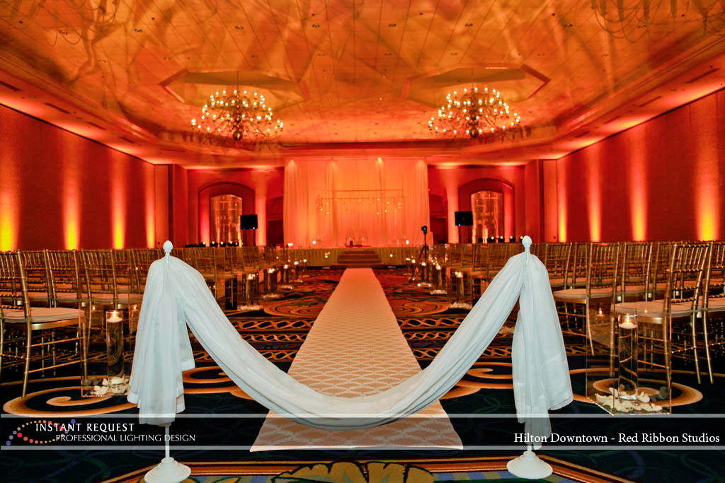 Wedding led uplighting at Hilton  8