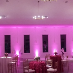 Pink uplighting at Hutton House for private party