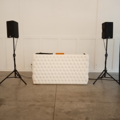 White Tufted DJ booth with standard speakers(white speakers are available)