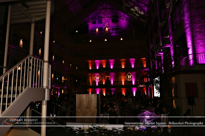 Wedding led uplighting at International Market Square 14