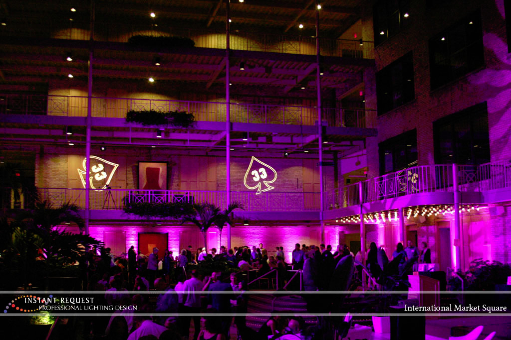 Wedding led uplighting at International Market Square 3