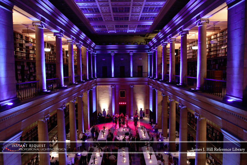 Wedding led uplighting at James J Hill 11