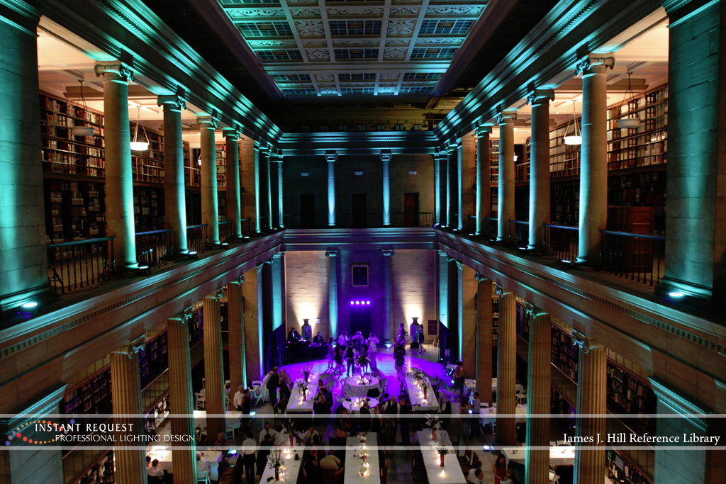 Wedding led uplighting at James J Hill 12